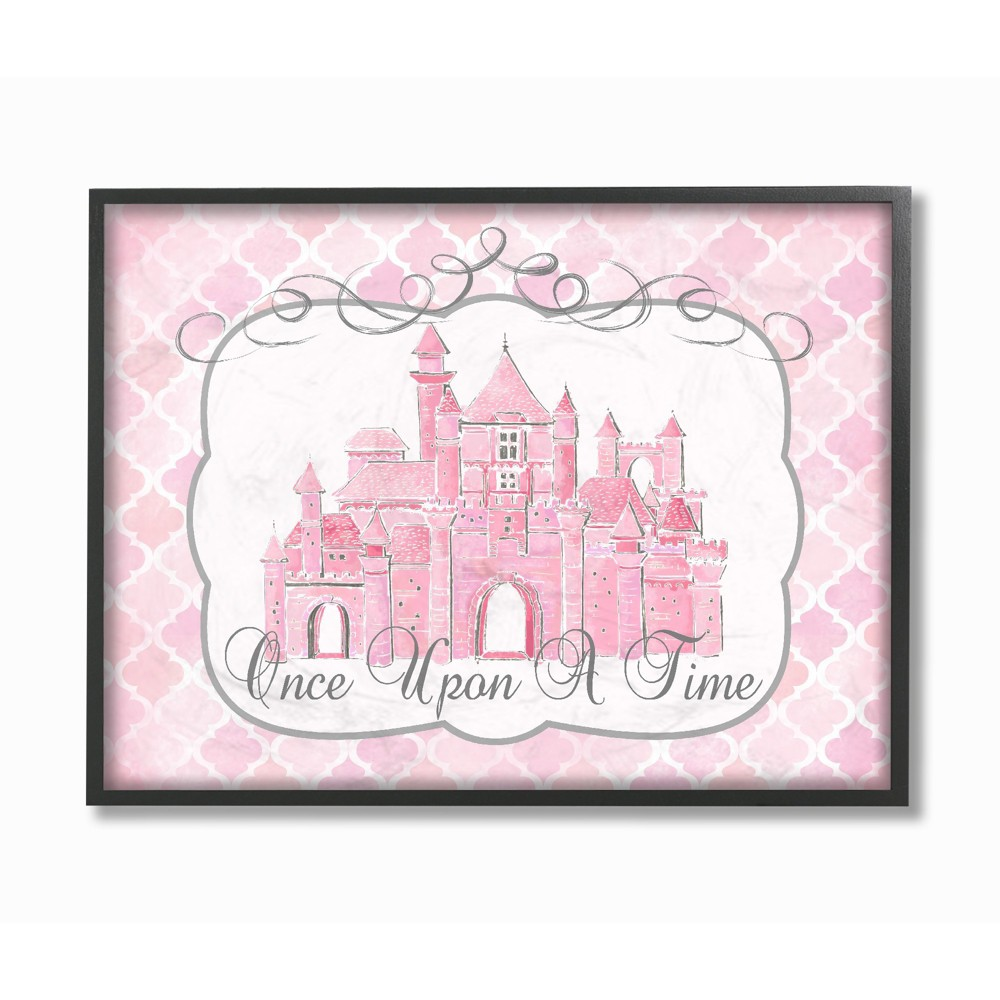 Once Upon A Time Pink Water Color Castle Framed Giclee Texturized Art (11x14