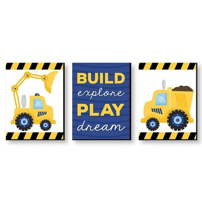Big Dot of Happiness Construction Truck - Baby Boy Nursery Wall Art and Kids Room Decorations - Gift Ideas - 7.5 x 10 inches - Set of 3 Prints