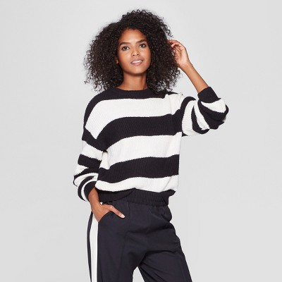 Women's Striped Long Sleeve Crew Neck Tie Back Sweater   Who What Wear™ by Who What Wear