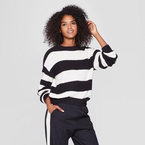 fbb569a0c1 Women s Striped Long Sleeve Crew Neck Tie Back Sweater - Who What Wear™