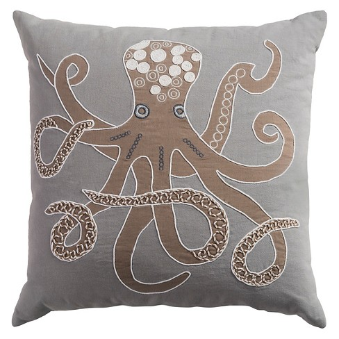 "Tan Octopus Throw Pillow (20""x20"") - Rizzy Home - image 1 of 1"