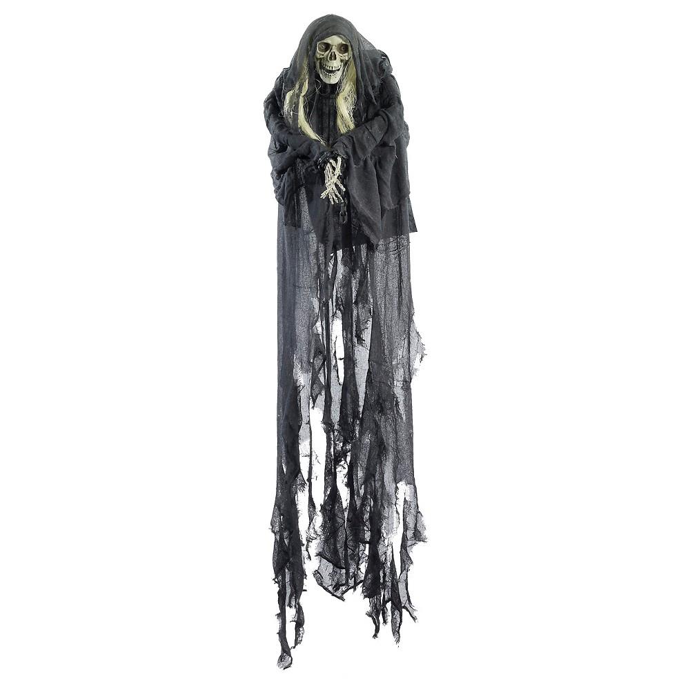 Image of 6' Halloween Hanging Skull Bound Decor, Gray