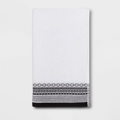 Diamond Border Terry Hand Towel Black/White - Threshold™