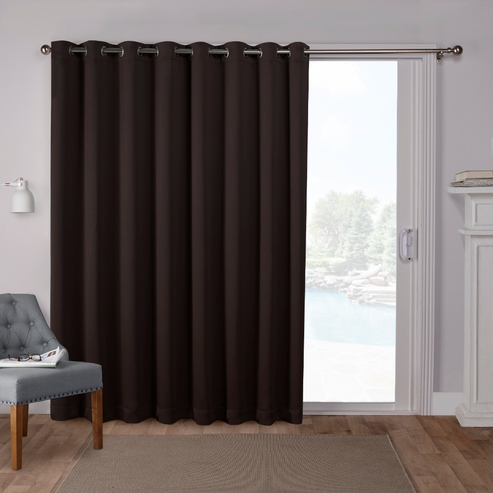 "Image of ""100""""x84"""" Sateen Blackout Solid Grommet Top Extra Wide Curtain Panel Brown - Exclusive Home"""