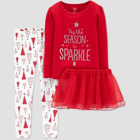 Toddler Girls' 3pc Tutu 100% Cotton Pajama Set - Just One You® made by carter's Red - image 1 of 1