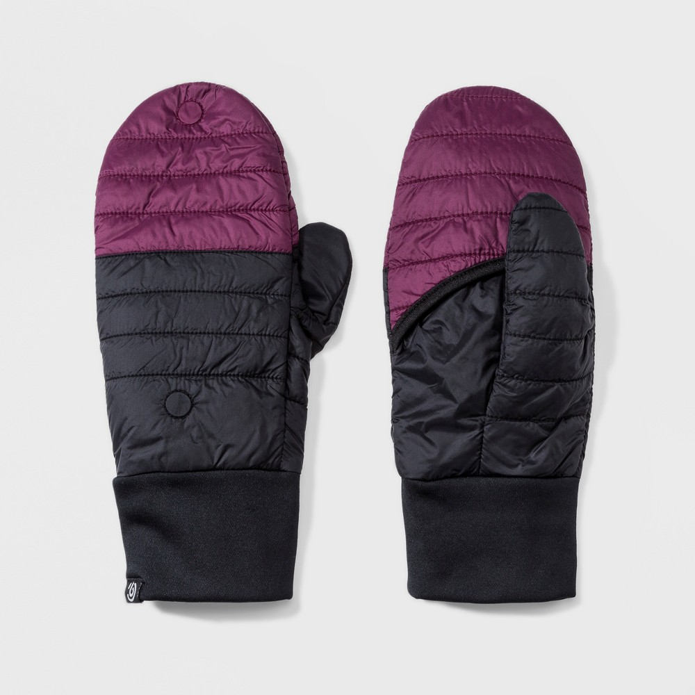 Women's Quilted Finger Less Flip Mitten Gloves - C9 Champion Black/Purple One Size