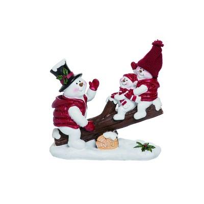 Transpac Resin 8 In White Christmas Seesaw Snowmen Target