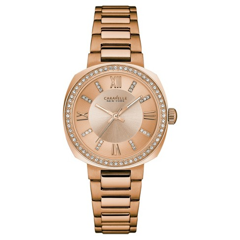 Women's Caravelle New York Crystal Rose Gold Tone Watch 44L224 - Medium gold - image 1 of 1