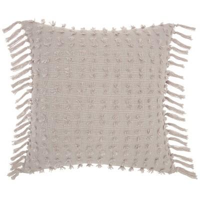 Oversize Life Styles Cut Fray Texture Square Throw Pillow Khaki - Mina Victory