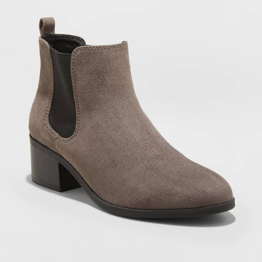 Image of Women's Ellie Microsuede Chelsea Bootie - A New Day Taupe 7, Brown