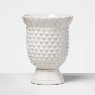 7  x 5.3  Hobnail Terracotta Vase White - Opalhouse™
