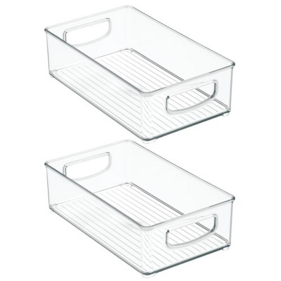 mDesign Kitchen Cupboard Organiser Kitchen Accessories Open-Top Plastic Storage Containers with Handles Transparent