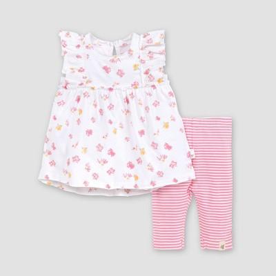 Burt's Bees Baby® Baby Girls' Ditsy Daisy Tunic & Striped Capri Leggings Set - White/Pink 6-9M