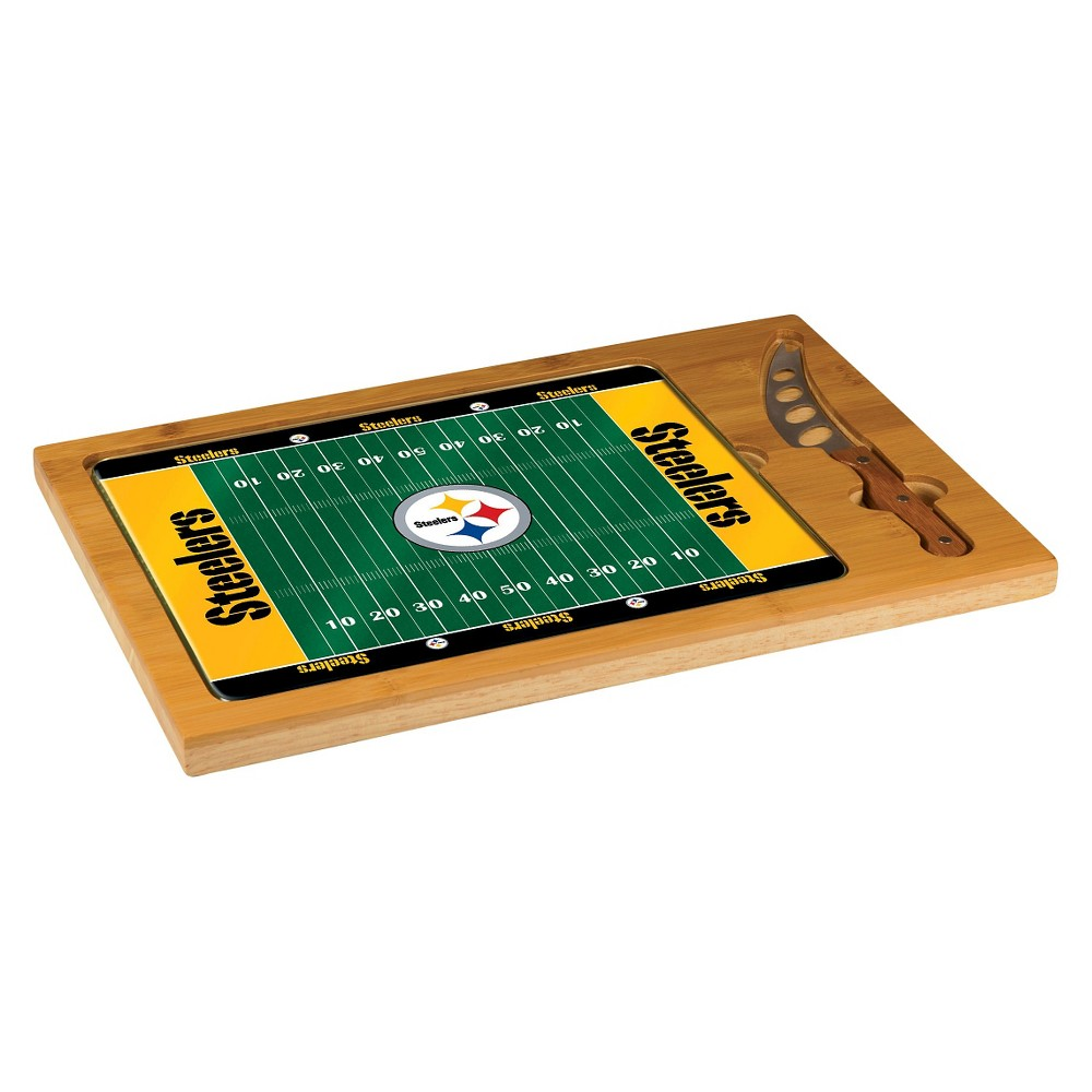 Pittsburgh Steelers - Icon Cutting Board/Tray and Knife Set by Picnic Time (Football Design)