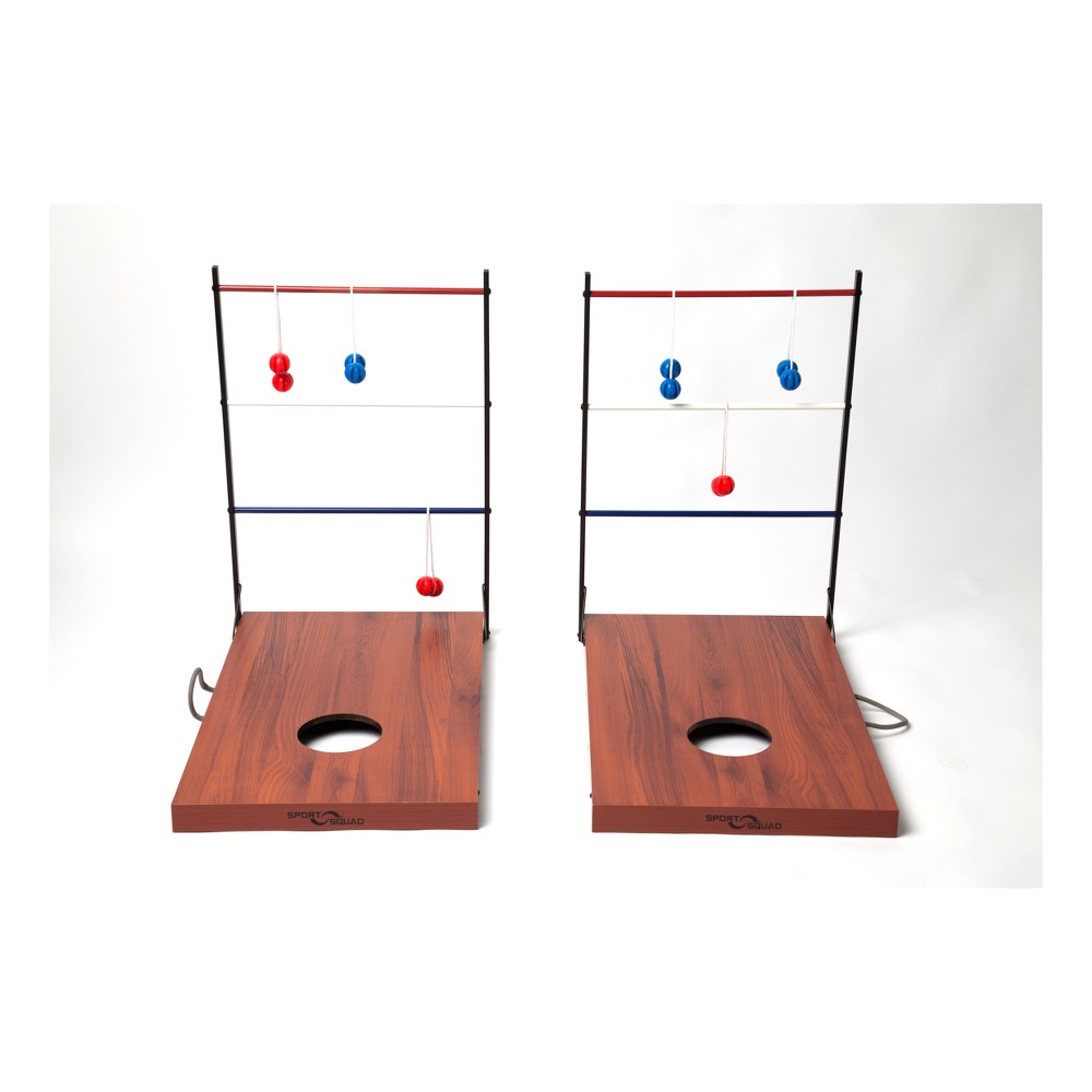 Sport Squad Combination Cornhole - Ladder Ball Sport Squad's Cornhole and Ladder Toss Game provides the fun of two classic tailgating games in one system that you can play anywhere! The game comes with two separate wooden goals perfect for playing with multiple teams. Play with the Ladder Toss side up and enjoy throwing the 6 included bolas to wrap around the highest scoring rungs in order to win the game! When it's time to switch things up, simply flip the game around to play Cornhole! The game includes 4 red and 4 blue beanbags for multiple team Cornhole fun. The Sport Squad Cornhole and Ladder Toss Game provides entertainment whether you're tailgating with a huge crowd or hanging out with the family in the back yard! This game system is easy to assemble and portable, making it the perfect addition to any outdoor event! Sport Squad games are made to bring family and friends together. It's time to put down the screens and enjoy some interactive fun!