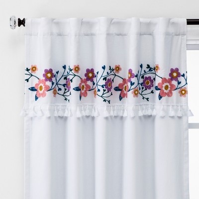 63  Floral Embroidery Blackout Window Curtain Panel - Pillowfort™