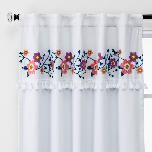 Floral Embroidery Blackout Window Curtain Panel - Pillowfort™ - image 1 of 6
