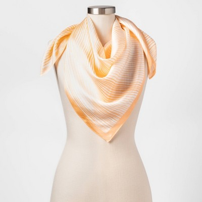 Women's Abstract Geo Print Silk Square Scarf - A New Day™ Orange One Size