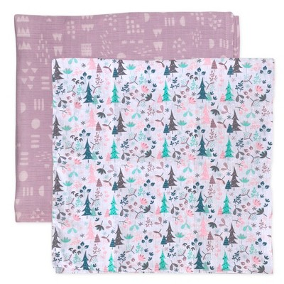 Honest Baby Organic Cotton Muslin Swaddling Blankets - Enchanted Forest 2pk