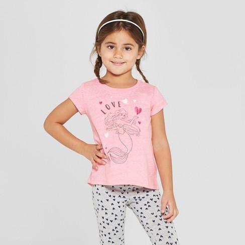 8af09ff4d Toddler Girls' Disney Princess Ariel Short Sleeve T-Shirt - Pink : Target