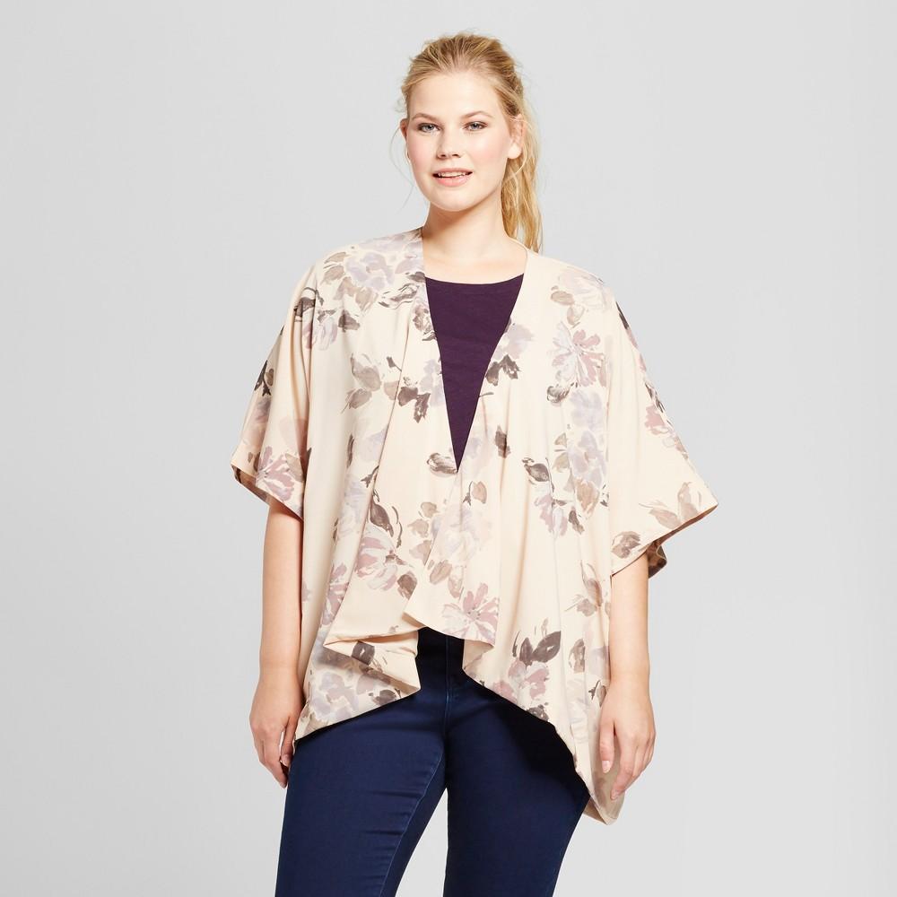 Women's Plus Size Watercolor Kimono - A New Day White