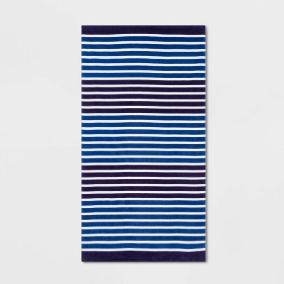 Printed Striped Beach Towel Navy - Sun Squad™