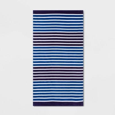 Printed Striped Beach Towel Navy - Sun Squad™