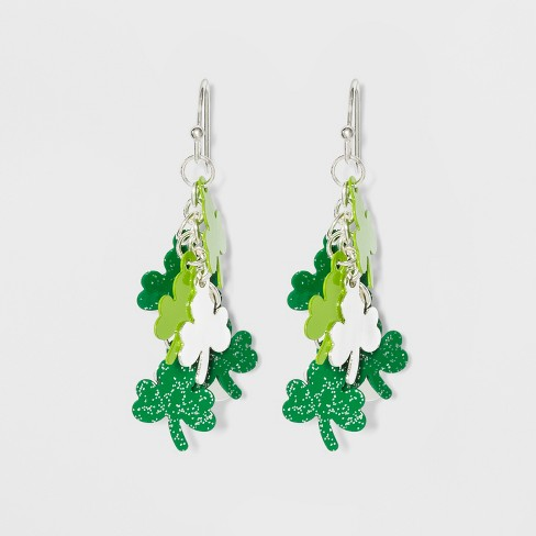 7db80d0a51b71 Four Leaf Clover and Drop Earrings - Green/Silver