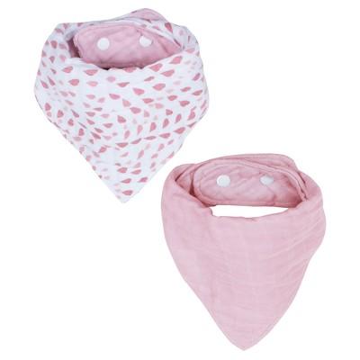 Bebe au Lait Muslin Bandana Bib 2pk - Rose Quartz & Petal