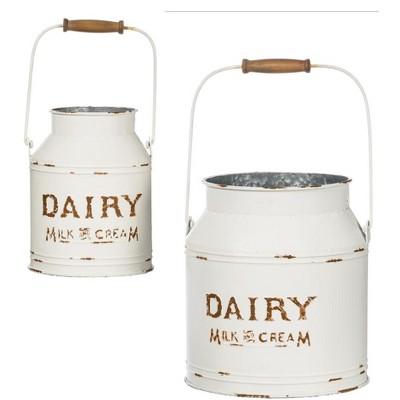 "Sullivans Set of 2 Milk Can Planter 9""H & 11""H White"