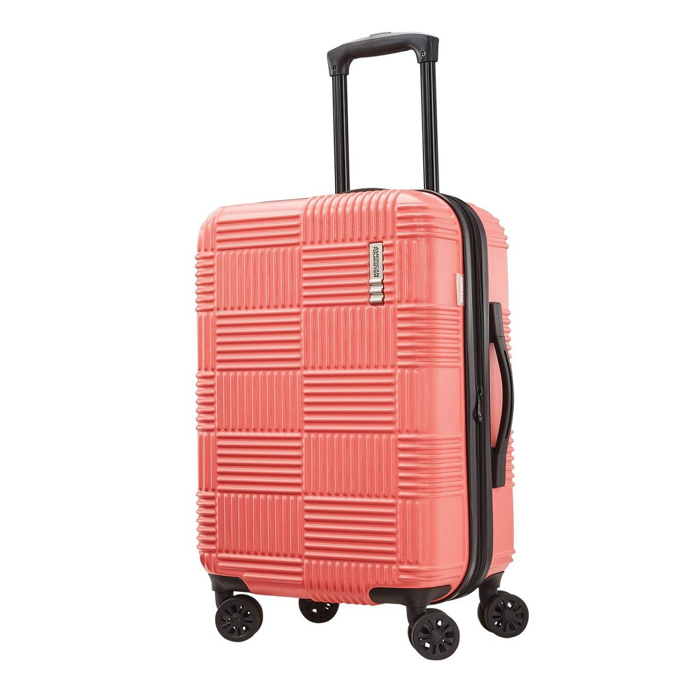 "Image of ""American Tourister 20"""" Checkered Carry On Hardside Spinner Suitcase - Coral, Pink"""