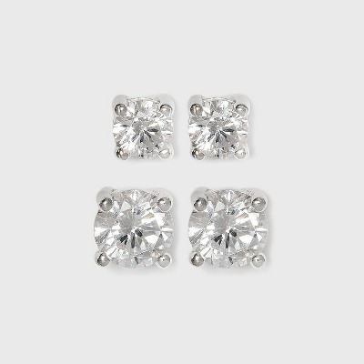 Sterling Silver Duo Round Cubic Zirconia Stud Earring Set 2pc - A New Day™ Clear