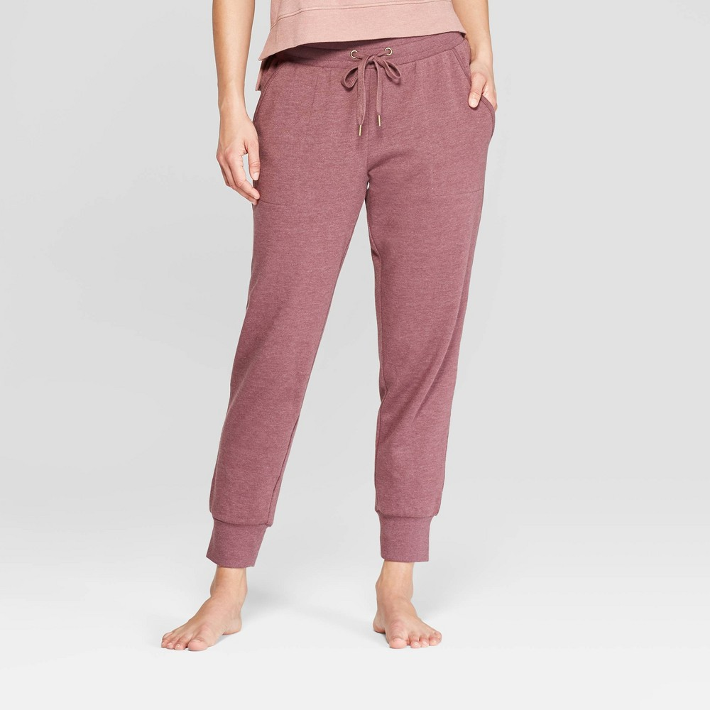 Women's Brushed Fleece Lounge Jogger Pants - Stars Above Burgundy (Red) Xxl
