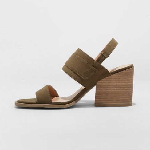 4c2fb8a653f Women s Matti Heeled Buckle Wide Width Ankle Strap Sandals - Universal  Thread™ Olive 6.5W   Target