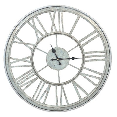 20.50  H Iron Outdoor Galvanized Clock - Silver - Threshold™