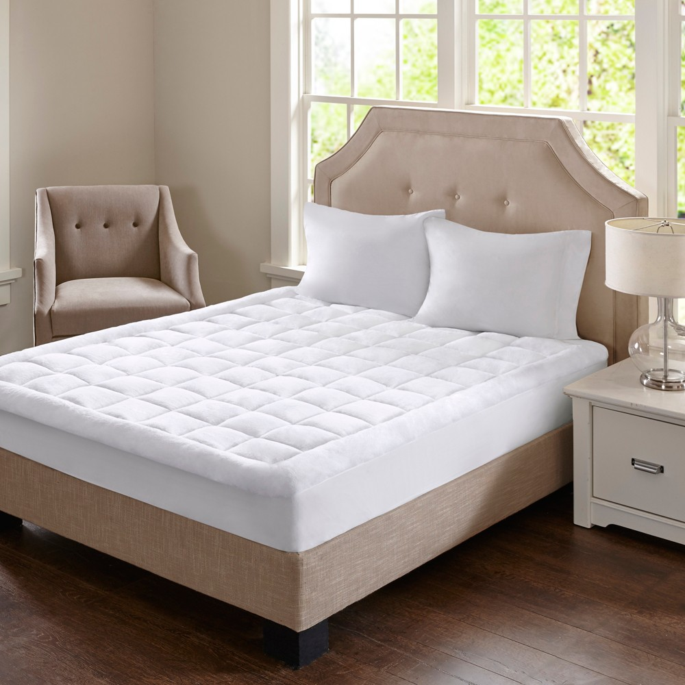 Heavenly Soft Overfilled Plush Hypoallergenic Down Alternative Waterproof Mattress Pad (Queen) White
