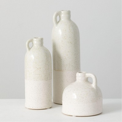 "Sullivans Set of 3 Bottle Vases 9.75""H, 7.5""H & 4""H White"