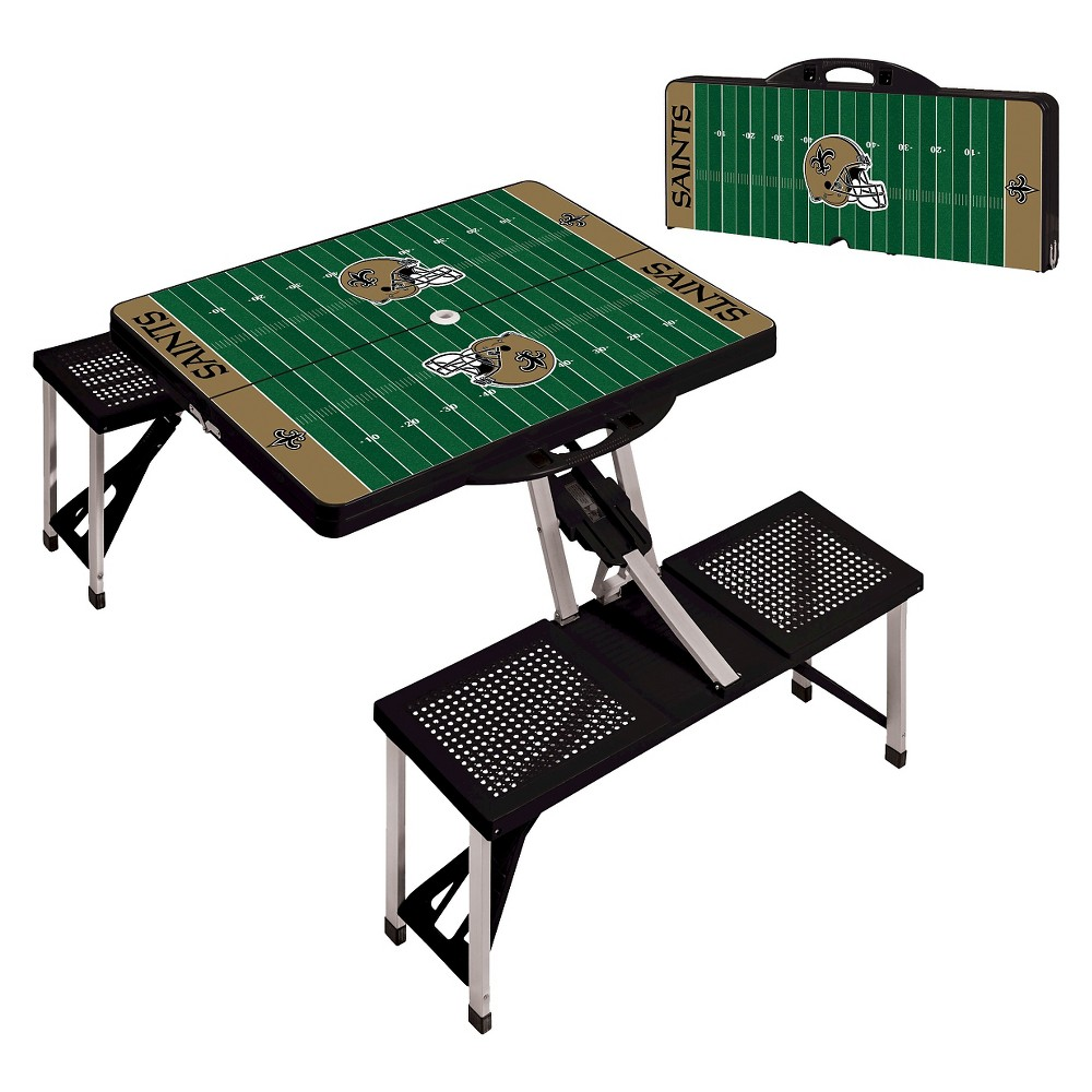 New Orleans Saints Portable Picnic Table with Sports Field Design by Picnic Time - Black