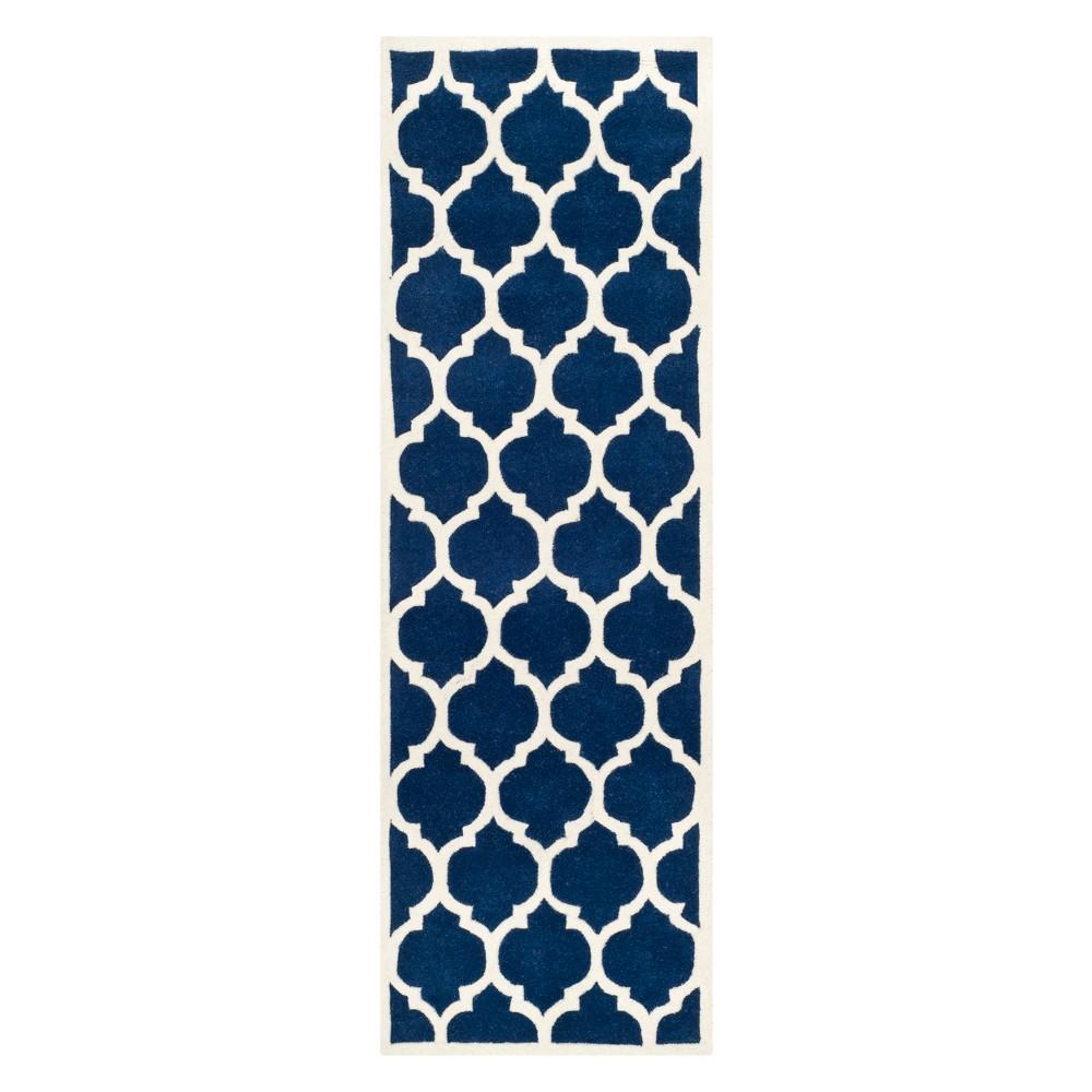 23X7 Quatrefoil Design Tufted Runner Dark Blue/Ivory - Safavieh Reviews