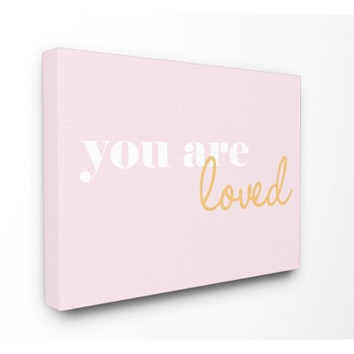"You Are Loved On Pink Background Stretched Canvas Wall Art (16""x20""x1.5) - Stupell Industries"
