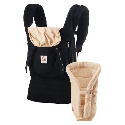 Ergobaby Original Ergonomic Multi-Position Baby Carrier with Bundle of Joy Infant Insert - Black/Tan