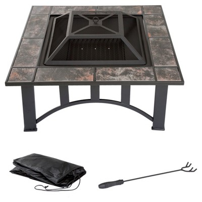 33  Square, Wood Burning Tile Fire Pit With Cover - Pure Garden
