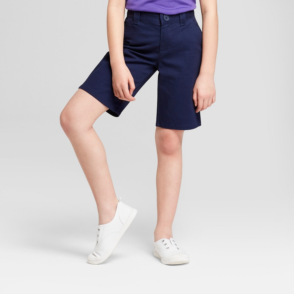 Plus Size Girls' Chino Uniform Shorts - Cat & Jack Navy (Blue) 10 Plus