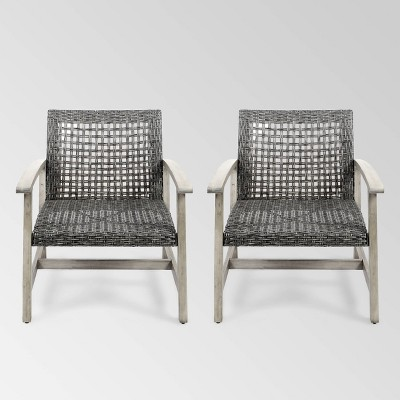 Hampton 2pk Wood & Wicker Mid-Century Club Chairs - Light Gray/Black - Christopher Knight Home