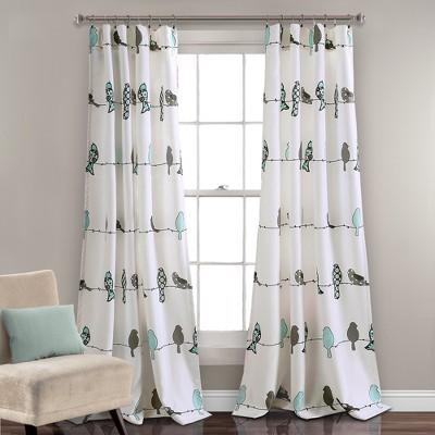 "Set of 2 52""x84"" Rowley Birds Room Darkening Window Curtain Panels Blue/Gray - Lush Décor"