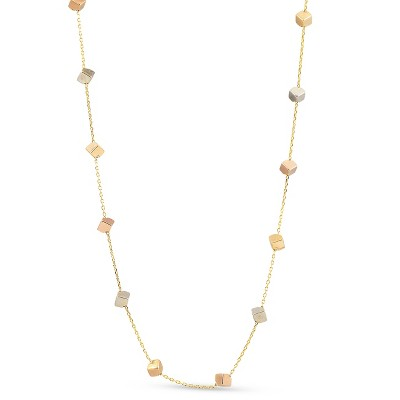 "Pompeii3 14k Yellow White & Rose Gold Tri Color Cube Station Necklace 17"" Lobster Clasp"