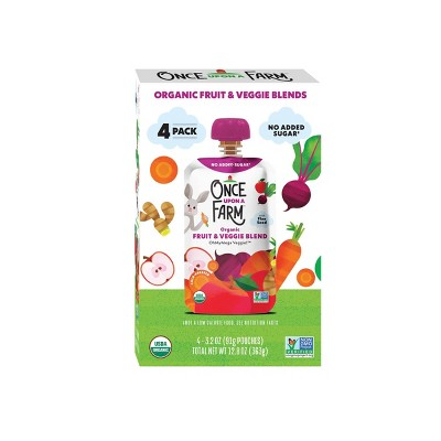 Once Upon a Farm Organic OhMyMega Veggie! Fruit & Veggie Blend - 4ct/3.2oz Pouches