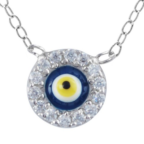"1/3 CT. T.W. Round-cut CZ Pave Set Evil Eye Pendant Necklace in Sterling Silver - Blue (16"") - image 1 of 2"