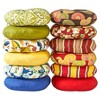 "Set of Two 18"" Carnival Stripe Outdoor Bistro Chair Cushions - Kensington Garden - image 3 of 4"