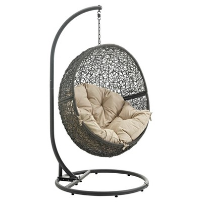 Hide Outdoor Patio Swing Chair in Gray Beige - Modway